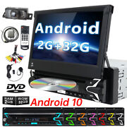 Single Din Android 10 Car Dvd Cd Player Radio 7 Flip Out Touch Screen Camera Tv