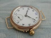 Superb And Rare 14k Solid Gold Electa Blue 12 Officers Borgel Cased Trench Watch