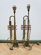 2 Old Trumpets About 1920 As Table Lamps Converted Trumpet
