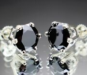 4.58tcw Real Natural Black Diamond Stud Earrings Aaa Grade And 2470 Value.