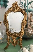 Antique French Rococo Style Gilt Bronze Boudoir Footed Beveled Vanity Mirror