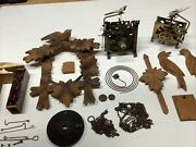 Vintage Coo Coo Clock Parts Lot Germany - Movements,wood, Weights -