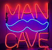 """Man Cave Neon Sign With Mustache Red/blue Large 15""""x15"""" Excellent"""