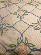 """Vintage Mcm Plush Chenille Bedspread Flowers 92"""" X 100 For Cutter Or Repair"""