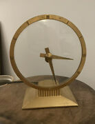 Vintage Jefferson Golden Hour Electric Mystery Clock 8 Glass Gold-working