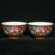 5.4yongzheng Marked Old Allite Red Porcelain Dynasty Flower Bowl Bowls Cup Pair