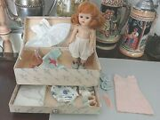 Vogue Ginny Pl Painted Lash Redhead Strung Doll In Trunk With Accessories 2153