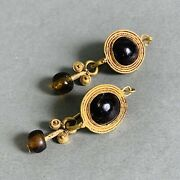 Pair Of Ancient Roman Gold Earrings With Garnet And Brown Glass Beads, Jewellery