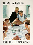Original Vintage Wwii Poster By Norman Rockwell - Freedom From Want