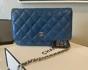 Woc Wallet On Chain Blue Lambskin With Silver Hardware Us Seller