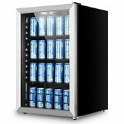 Beverage Refrigerator And Cooler - 156 Can Mini Fridge With Glass Door For