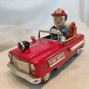 Vintage Nomura Fire Dept No 12 Battery Operated Tinplate Toy 1950 Rare Works.