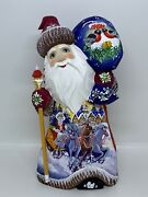 9.4 Wooden Russian Carved Santa Father Frost, Ded Moroz Christmas Decor
