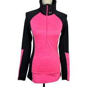 Under Armour Fitted Athletic Top Women Xs-s 1/2 Zip High Neck Thumb Holes
