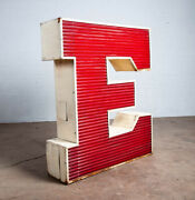 Mid Century Modern Neon Sign Lamp Marquee Letter E Working Large 48 Light Wall