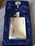 Fabulous Vintage Boxed Set Sterling Silver Hip Flask And Funnel By Carr's Ltd