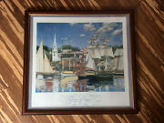 John Philip Hagen Reflections Of Newport Print And Signed And Framed
