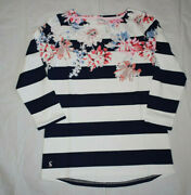 Joules Top Uk10 Cream Whitstable Stripe 3/4 Sleeve 100 Cotton Jersey Eu38 Us6