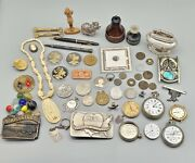 Antique Vintage Junk Drawer Collectibles Watches Coins Sterling Buckles Misc Lot