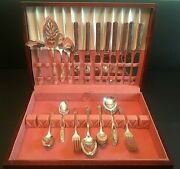 Oneida Community Stainless Queen Bess Tudor Plate Flatware Service For 8+case