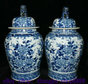 26.3 Old Kangxi Year Blue White Porcelain Dragon Phoenix Tank Can Canister Pair