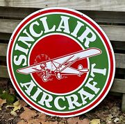Large Double Sided Sinclair Aircraft Gasoline Station 30 Porcelain Metal Sign