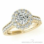 1.15 Ct Natural Diamond Halo Engagement Ring F/si2 Round Cut 14k Yellow Gold