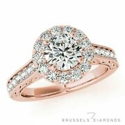1.15 Ct F/si2 Natural Diamond Halo Engagement Ring Round Cut 14k Rose Gold