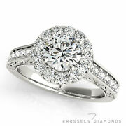 1.11 Ct Natural Diamond Halo Engagement Ring D/vs2 Round Cut 14k White Gold