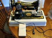 Vintage Johnson Butterfly Ruffling Sewing Machine W/ Foot Pedal Cord And Case