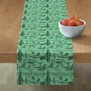 Table Runner Space Fantasy Toy Retro Science Fiction Ray Gun Cotton Sateen