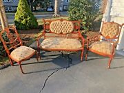 Antique Louis Xvi French Parlor Set Inc. Loveseat +2 Chairs Woven + Wood Carving
