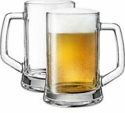 Classic Large Beer Mugs With Handles By Kook Solid Glass Large Freezer Safe S...