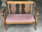 1900s Antique Victorian Window Bench Chair Upholstery Vintage Carved Feet