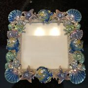 """Enameled Metal Picture Frame With Seashells Cut Crystal 5x5"""""""