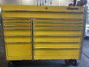 Snap On Tool Box 14 Drawer Yellow With Vice Very Good Condition
