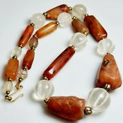 Roman Beautiful Old Agate And Crystal Stone Beads Antique Necklace