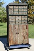 Antique Apothecary Cabinet Wood Drawer Hardware Store Cupboard Green Primitive
