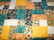 Vintage Cutter Quilt Topper Sunflowers 72 X 98 Green Yellow Floral Unfinished