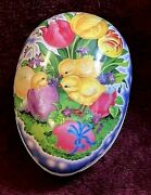 Vintage Easter Egg Cardboard Candy Container Made In Germany Baby Chicks Tulips