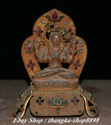 6 Old Tibet Temple Copper Gold Crystal 4 Arms Chenrezig Buddha Goddess Statue