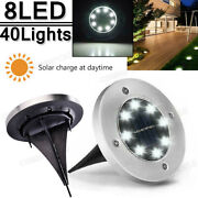 40 Pack Solar Ground Lights 8 Led Solar Disk Lights Waterproof In Ground Outdoor
