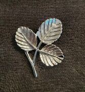 Vintage Sarah Coventry Small Silvertone Triple Leaf Brooch 1960andrsquos Autumnal Cov