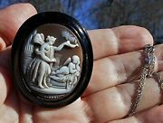 Museum Quality Cameo Antique Whitby Jet Carved Eros Psyche Oil Lamp 925 Necklace