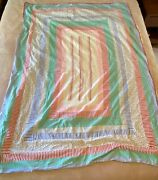 Vintage Summer Cutter Quilt Hand Crafted Machine Sewn Floral Backing 50 X 67