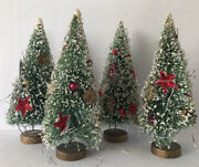 Vintage Bottle Brush Christmas Trees 4 8andrdquo Green Flocked Hand Decorated Tinsel