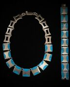 Mexican Sterling Silver Vintage Heavy Turquoise Bracelet Necklace Choker Tr-110