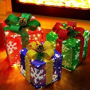 Christmas Lighted Boxes Set Of 3 Light Up 60 Led Outdoor Present Decorations