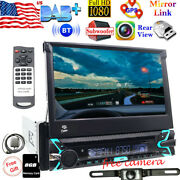 7 Single 1din Car Radio Player Flip Out Head Unit Touch Screen Dvd Cd Sd Camera