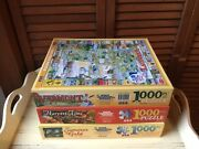 3 White Mountain Jigsaw Puzzles 1000 Pcs Vermont Summertime Harvest Gold Used